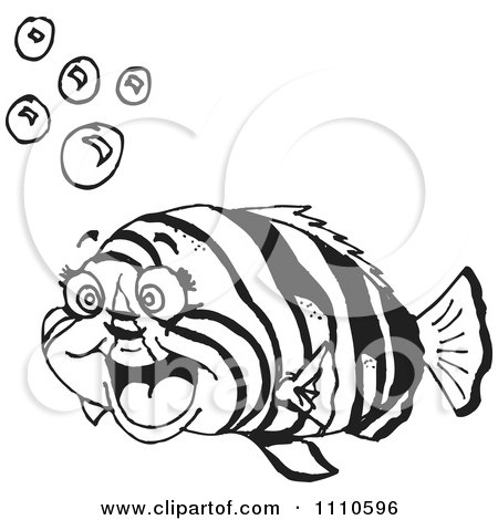 Free Clip Art Black And White Fish With Bubbles Free Download