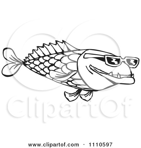 Clipart Black And White Fish Wearing Sunglasses - Royalty ...