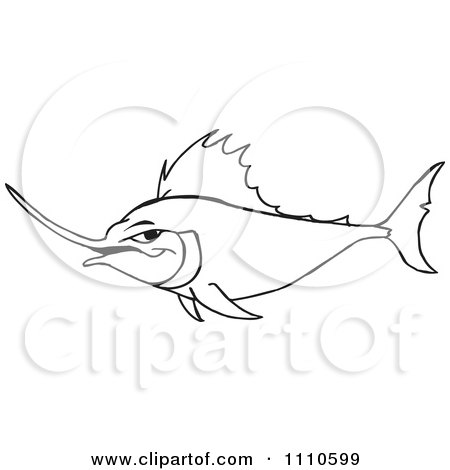 Clipart Black And White Marlin Fish - Royalty Free Vector Illustration by Dennis Holmes Designs
