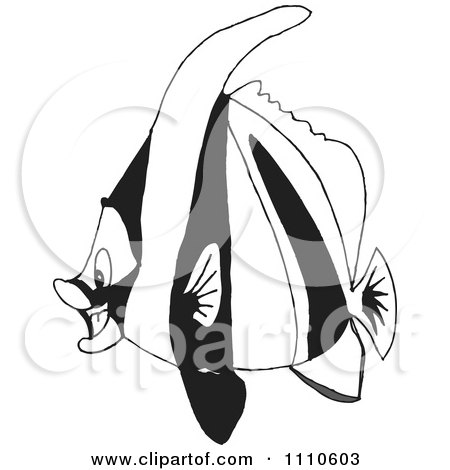 Clipart Black And White Salt Water Marine Fish 6 - Royalty Free Vector Illustration by Dennis Holmes Designs