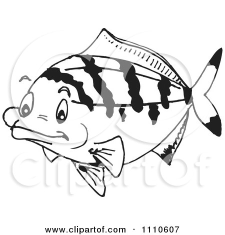 Clipart Black And White Salt Water Marine Fish 5 - Royalty Free Vector Illustration by Dennis Holmes Designs