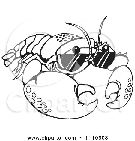 Clipart Black And White Crayfish Wearing Sunglasses - Royalty Free Vector Illustration by Dennis Holmes Designs