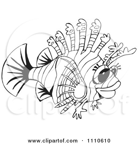 Clipart Outlined Lion Fish Royalty