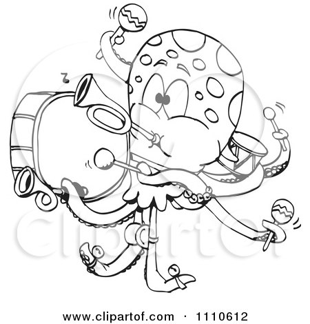 Clipart Black And White Octopus One Man Band - Royalty Free Vector Illustration by Dennis Holmes Designs