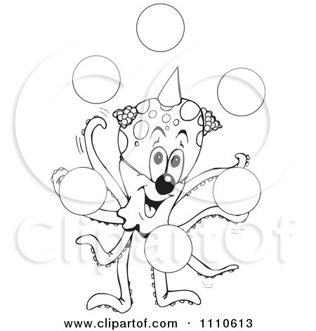Clipart Black And White Octopus Clown Juggling Bubbles - Royalty Free Vector Illustration by Dennis Holmes Designs