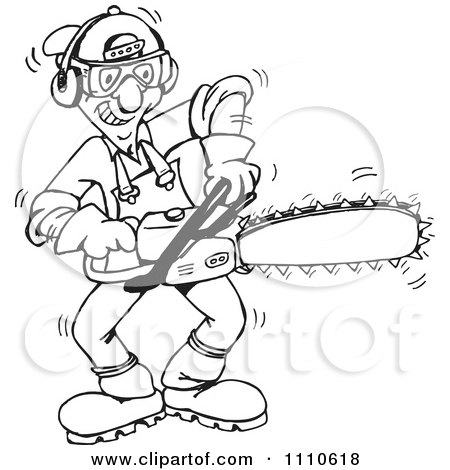 Clipart Black And White Tree Trimmer Starting Up His Chainsaw - Royalty Free Vector Illustration by Dennis Holmes Designs