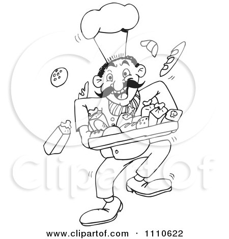 Clipart Black And White Male Baker With Bread - Royalty Free Vector Illustration by Dennis Holmes Designs