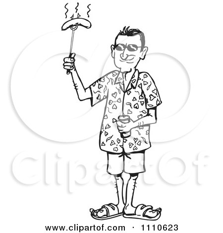 Clipart Black And White Man Holding A Bbq Hot Dog - Royalty Free Vector Illustration by Dennis Holmes Designs