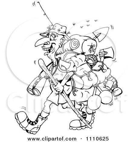 Clipart Black And White Bushwalker Hiker - Royalty Free Vector Illustration by Dennis Holmes Designs