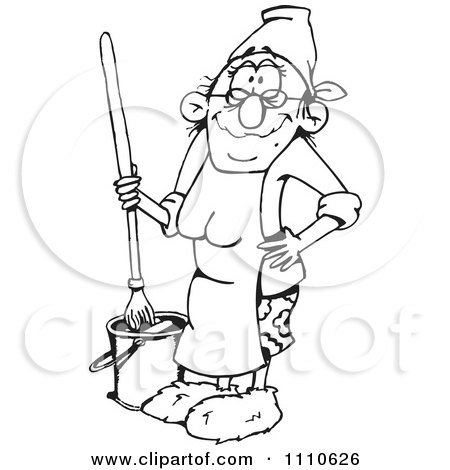 Clipart Black And White Woman Mopping A Floor - Royalty Free Vector Illustration by Dennis Holmes Designs