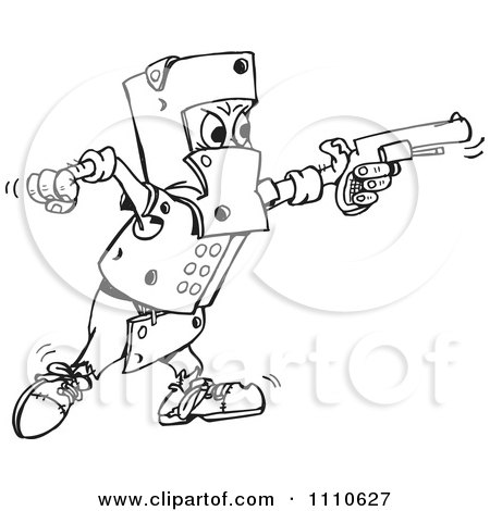 Clipart Black And White Man Covered In Armor And Shooting A Gun - Royalty Free Vector Illustration by Dennis Holmes Designs