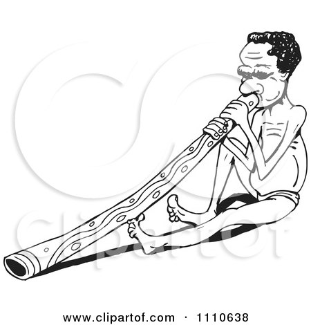 Clipart Black And White Aussie Aboriginal Man Sitting And Playing A Didgeridoo - Royalty Free Vector Illustration by Dennis Holmes Designs
