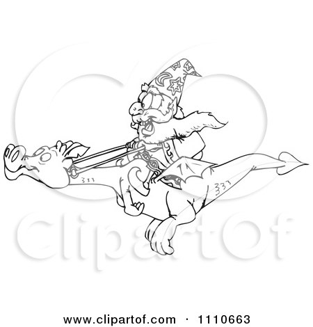 Clipart Black And White Wizard On A Flying Dragon - Royalty Free Illustration by Dennis Holmes Designs