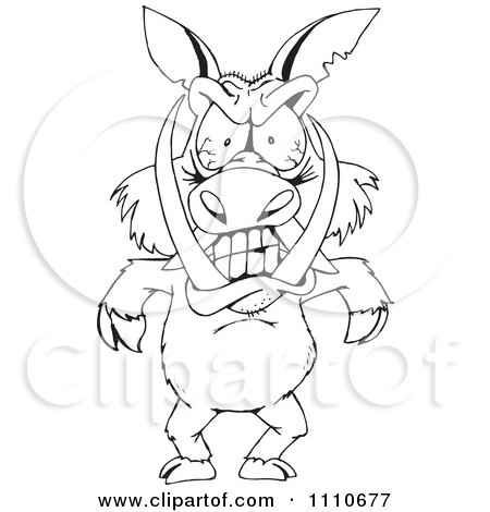 Clipart Black And White Angry Boar - Royalty Free Vector Illustration by Dennis Holmes Designs