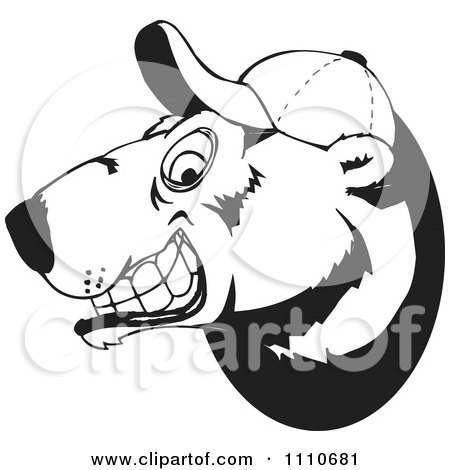 Clipart Black And White Polar Bear Grinning And Wearing A Baseball Hat - Royalty Free Vector Illustration by Dennis Holmes Designs