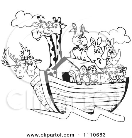 Clipart Black And White Giraffes Birds Rhinos Sheep And Monkeys On Noahs Ark - Royalty Free Vector Illustration by Dennis Holmes Designs