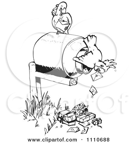 Clipart Black And White Cockatoos Pulling Mail Out Of A Box - Royalty Free Vector Illustration by Dennis Holmes Designs