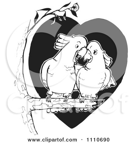 Clipart Black And White Cockatoo Couple Cuddling In A Tree - Royalty Free Vector Illustration by Dennis Holmes Designs