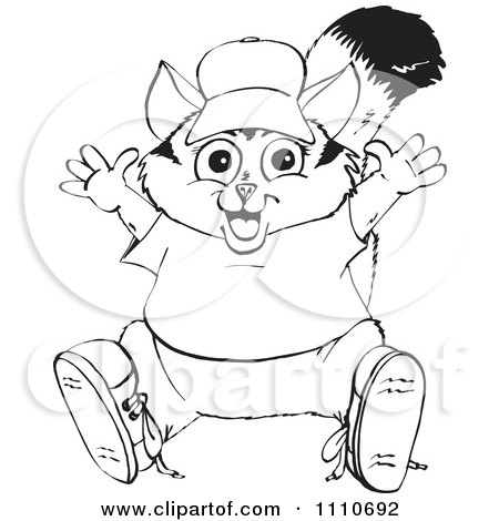 Clipart Of A Cartoon Black And White Awesome Possum