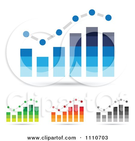 Clipart Blue Green Orange And Gray Bar Graphs - Royalty Free Vector Illustration by cidepix