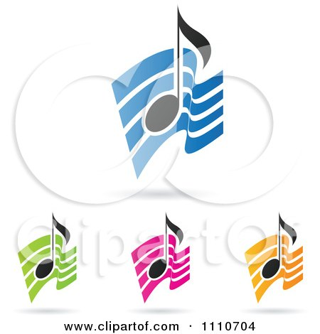 Clipart Music Notes Over Colorful Waves - Royalty Free Vector Illustration by cidepix