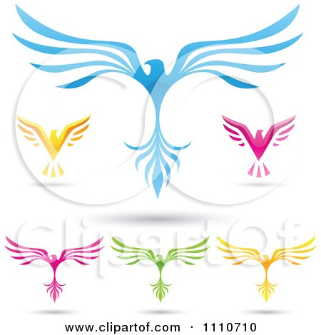 Clipart Colorful Eagles With Spread Wings - Royalty Free Vector Illustration by cidepix