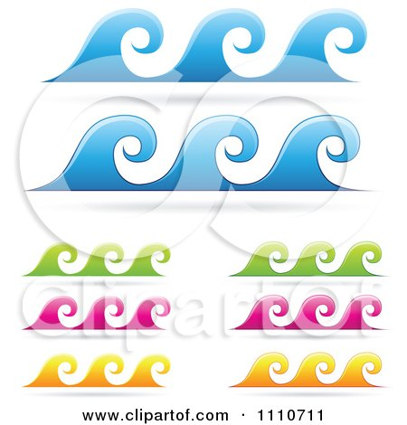 Clipart Colorful Sea Wave Borders - Royalty Free Vector Illustration by cidepix