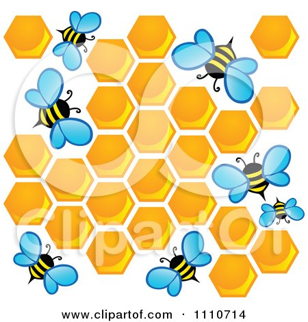 Clipart Worker Bees With Honey Combs - Royalty Free Vector Illustration by visekart