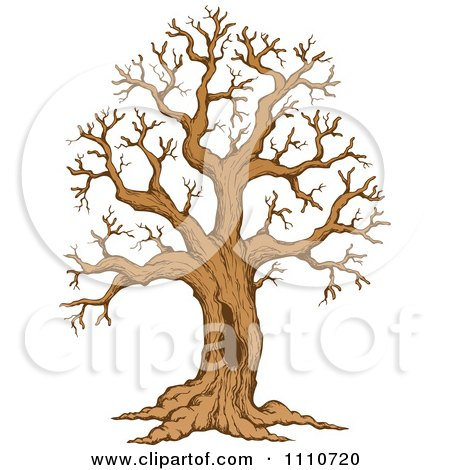 Clipart Sketched Hollow Bare Tree - Royalty Free Vector Illustration by visekart