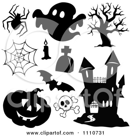 Clipart Black And White Halloween Design Element Items - Royalty Free Vector Illustration by visekart