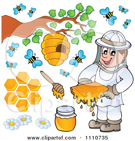 Clipart Bee Keeper With Honey Combs Jar Stick Hive And Bees - Royalty Free Vector Illustration by visekart