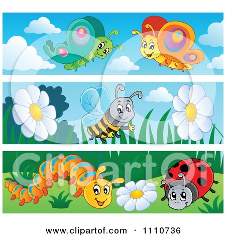 Clipart Butterfly Bee Caterpillar And Ladybug Banners - Royalty Free Vector Illustration by visekart