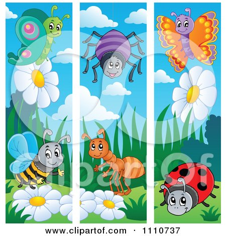 Clipart Butterfly Bee Spider Ant And Ladybug Banners - Royalty Free Vector Illustration by visekart