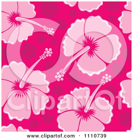Clipart Seamless Pink Hibiscus Flower Background Pattern - Royalty Free Vector Illustration by visekart