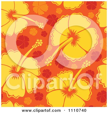 Clipart Seamless Yellow And Orange Hibiscus Flower Background Pattern - Royalty Free Vector Illustration by visekart