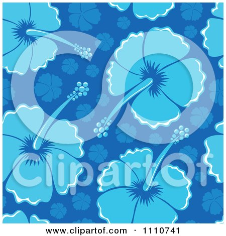 Clipart Seamless Blue Hibiscus Flower Background Pattern - Royalty Free Vector Illustration by visekart