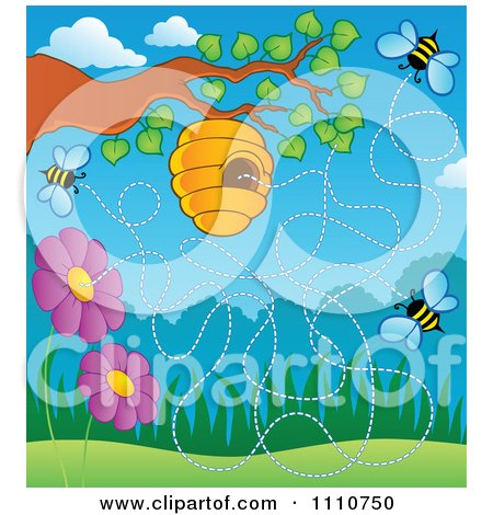 Clipart Hive On A Tree With Flowers And Bees - Royalty Free Vector Illustration by visekart