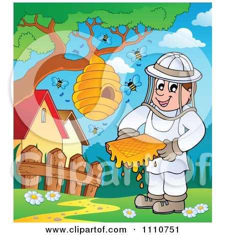 Clipart Happy Beekeeper Holding Honey By A Hive On A Tree - Royalty Free Vector Illustration by visekart