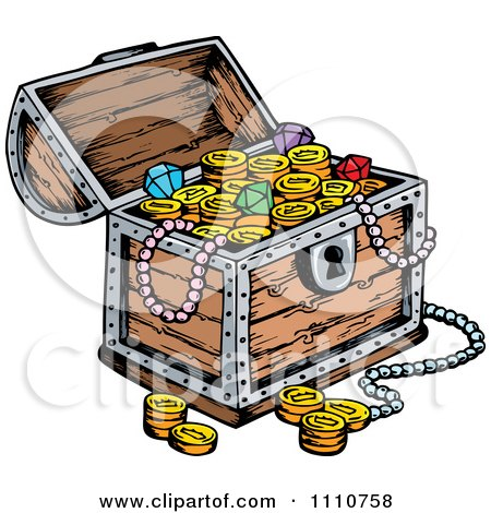Clipart Wooden Pirates Booty Treasure Chest - Royalty Free Vector Illustration by visekart