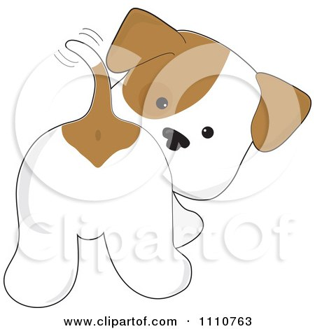 Clipart Cute Puppy Looking Back And Wagging His Tail - Royalty Free Vector Illustration by Maria Bell