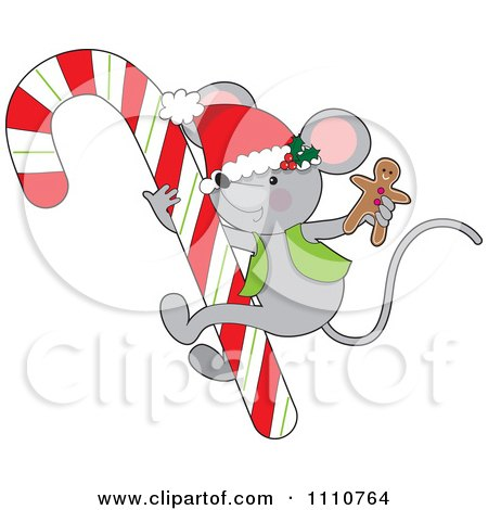 Clipart Cute Christmas Mouse Holding