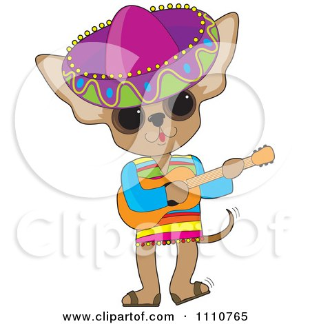 Clipart Mexican Chihuahua Dog Wearing A Sombrero And Playing A Guitar - Royalty Free Vector Illustration by Maria Bell