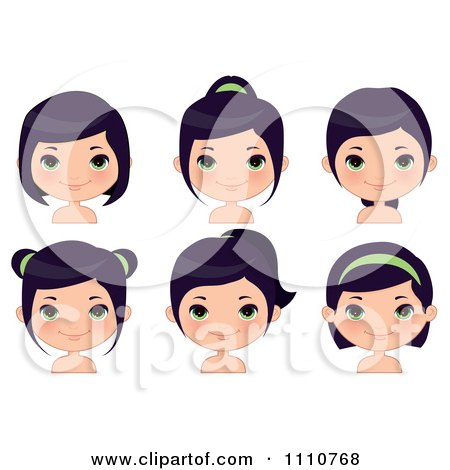 Clipart Black Haired Girl Shown With Different Hair Styles - Royalty Free Vector Illustration by Melisende Vector