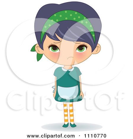 Clipart Sad Waitress Pouting - Royalty Free Vector Illustration by Melisende Vector
