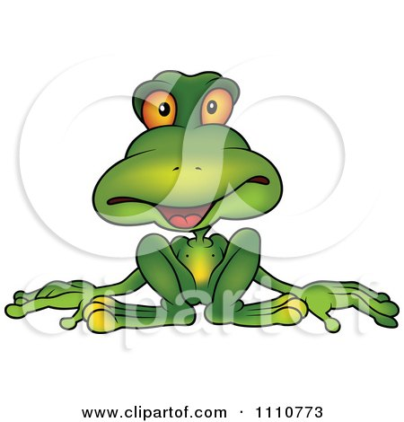 Clipart Relaxed Green Frog - Royalty Free Vector Illustration by dero
