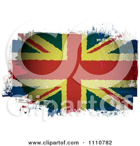 Clipart Grungy Painted UK British Union Jack Flag - Royalty Free Vector Illustration by michaeltravers