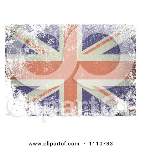 Clipart UK British Union Jack Flag With White Distress Grunge - Royalty Free Vector Illustration by michaeltravers