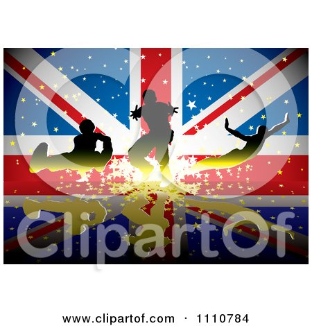 Clipart Silhouetted Athletes Over A British UK Union Jack Flag With Stars - Royalty Free Vector Illustration by michaeltravers