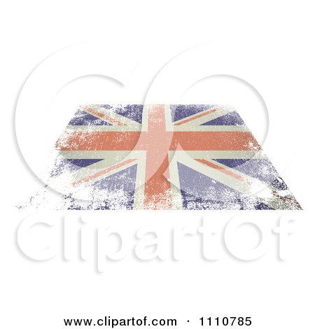 Clipart Flat Distressed UK British Union Jack Flag - Royalty Free Vector Illustration by michaeltravers