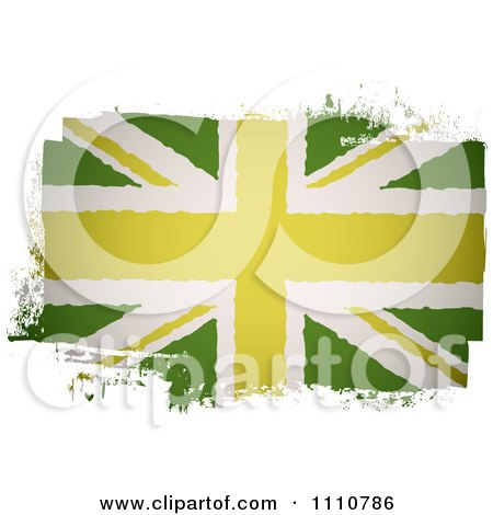 Clipart Painted UK British Union Jack Flag In Green - Royalty Free Vector Illustration by michaeltravers